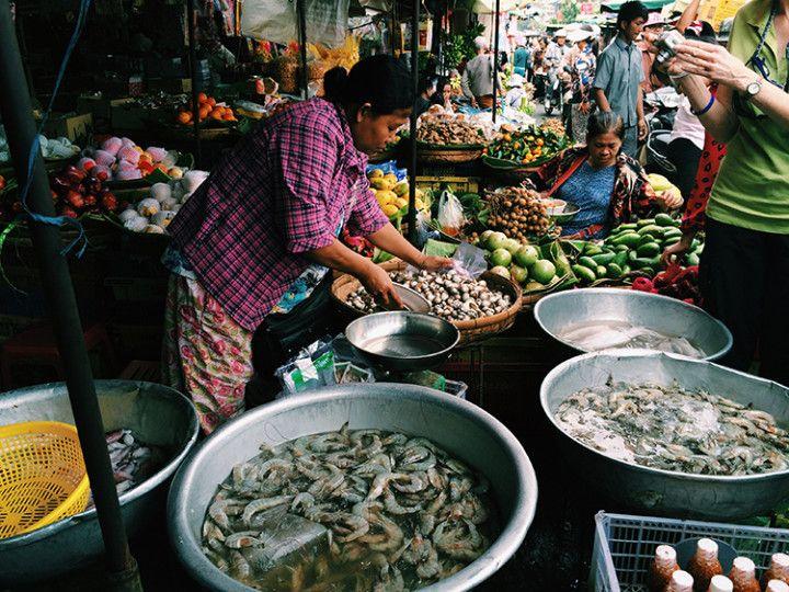 Foto: Eli Zubiria. Mercado de Kandal en Phnom Pehn, Camboya