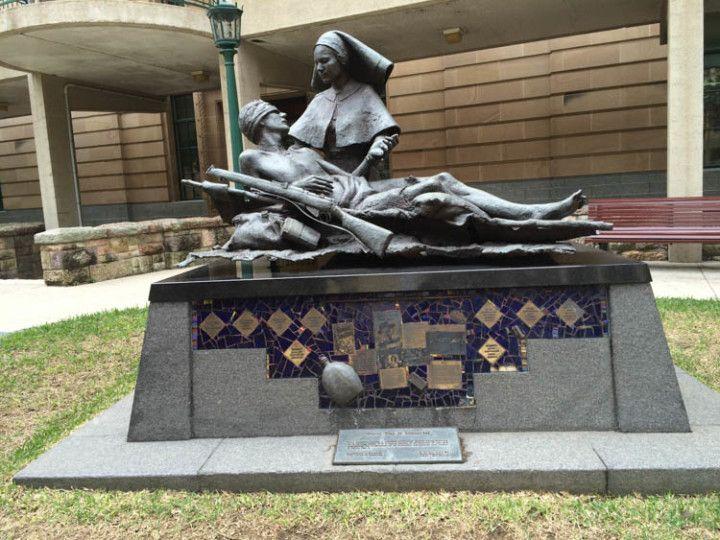 Foto:Eli Zubiria. Monumento a los caídos durante la Segunda Guerra Mundial en la plaza de Anzac, en Brisbane, Australia.