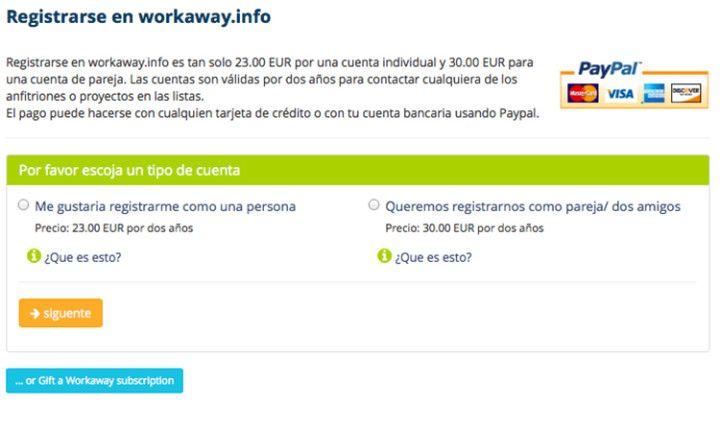 inscribirse en Workaway