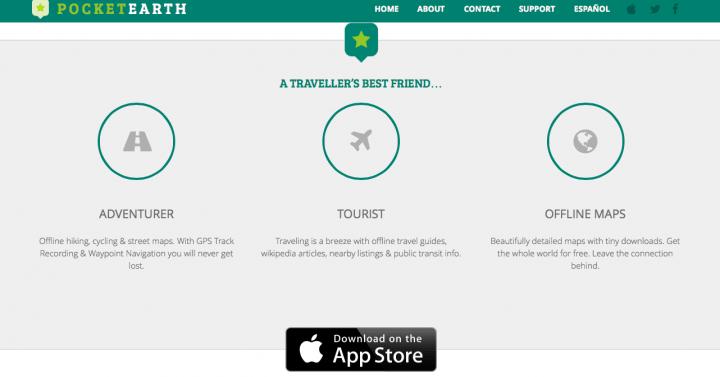 Utilizar Pocket Earth es uno de los consejos para mujeres que viajan en solitario