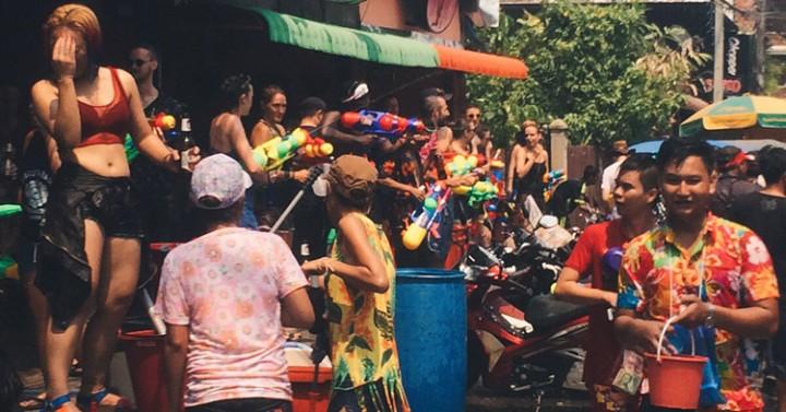 Celebración del Songkran en Chiang Mai, Tailandia